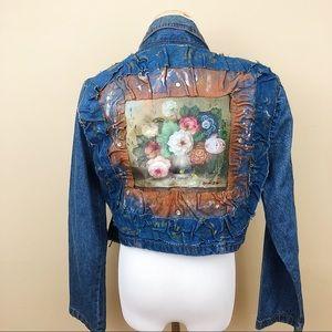 VINTAGE cropped denim painted floral jacket